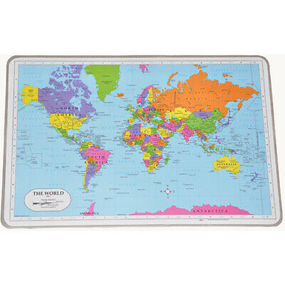 WORLD ATLAS MAP Educational LEARN Geography Homeschool WIPE-OFF PLACEMAT NEW