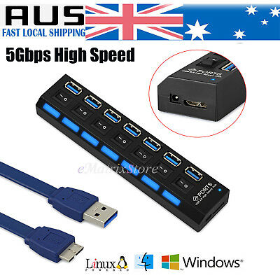 7 Port USB 3.0 HUB Powered + USB Power Cable High Speed Desktop Extender AU