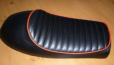 Motorcycle seat black universal cafe racer bobber red trim