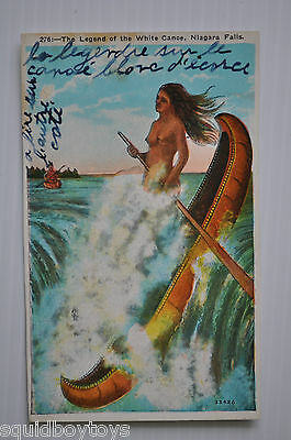 - LEGEND OF THE WHITE CANOE , NIAGARA FALLS Vintage POSTCARD 1940s -