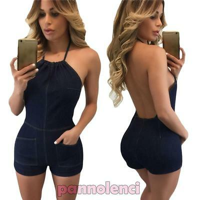 Overall donna tutina shorts aderente denim casual jumpsuit nuova DL-1931