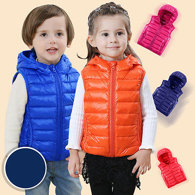 NEW children's Down vest boys and girls warm Hooded vest downvest Baby waistcoat