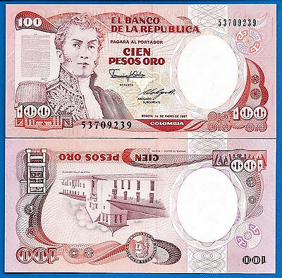 Colombia P-426e 100 Pesos Oro Year 1.1.1991 Uncirculated FREE SHIPPING