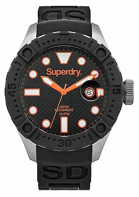 SUPERDRY Men's Scuba DeepSea Black Silicon Strap Watch SYG140B