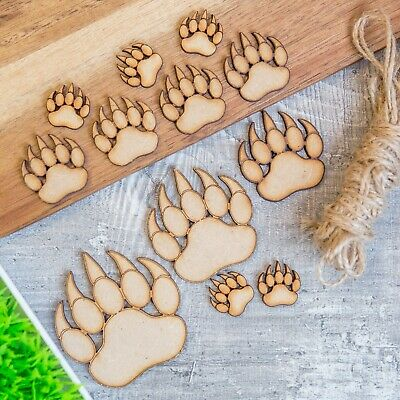 Wooden MDF Paws Dog Bear Animal Decoupage Embellishment Craft Shape Claws Art