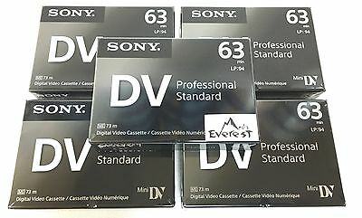 Sony Professional  Mini DV Minidv Camcorder video 63min Tape DVM63PS 5 pack