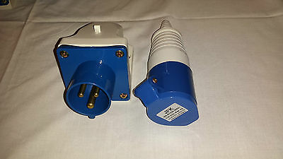 16 amp appliance inlet socket wall mount 240V IP44+16 amp coupler caravan mains