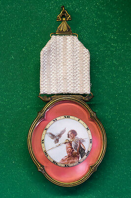 Ateliers Juvenia Pendant Clock with D'ore bezel and Hand Painted Miniature