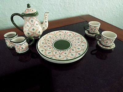 Vintage Child's Porcelain Small Pink & /Green Tea Set 9 pcs.
