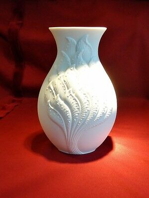 KAISER Vintage Bisque Porcelain Vase with Tree Pattern Relief