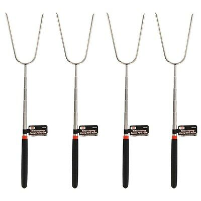 4 x CAMPFIRE EXTENDABLE ROASTING FORK Marshmallow Stick Skewer Hot Dog Camp Fire
