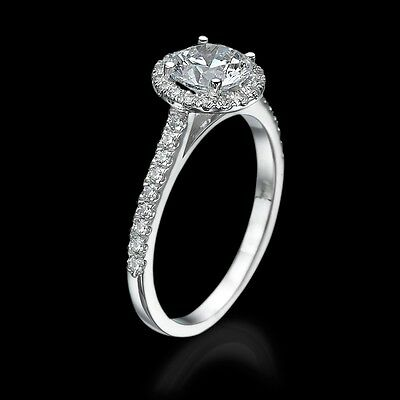 1 CT Diamond Engagement Ring Round Cut D/VS2 14K White Gold Enhanced Halo