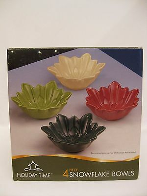 Holiday Time 4 piece Snowflake Bowls - New