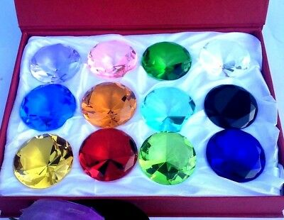Two Box Of 12/Box Glass Diamond Shape Jewelry Paperweight 30mm Mix Color Gift