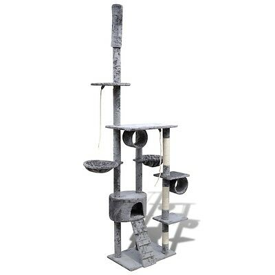 Cat Tree 220-240 Poles Scratcher House Gym Cando Furniture Post Scratching Grey