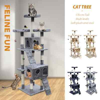 3 Colours 170cm Cat Tree Pet Scratcher Post Poles House Condo Multi Level Climb
