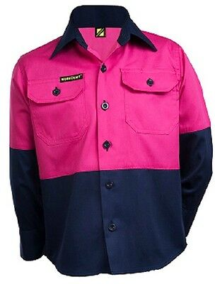 NEW KIDS WORK SHIRT Girls Hi Vis Two Tone Long Sleeve Shirt Pink/Navy 0 2 4 6 8