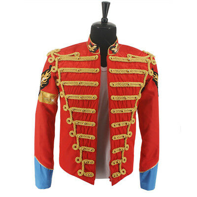 Rare MJ Michael Jackson Red Retro England Military Jacket Handmade 030a1808e760