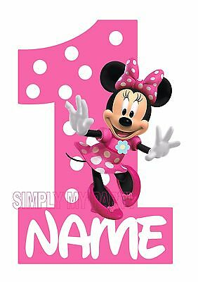 Iron On Transfer / Sticker -  Minnie Mouse Birthday - 1St 2Nd 3Rd T-Shirt Trans