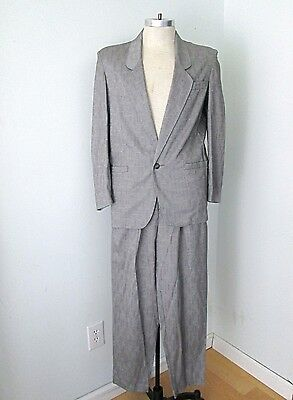 VGC Vtg 80s New Wave Punk Gray Sharkskin 2-Pc Suit Pleated Tapered Pants 40S
