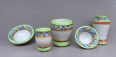 Dollhouse African raku hand painted ceramic vases and bowls