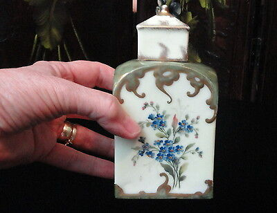 ANTIQUE Porcelain China SMALL TEA CADDY / Jar  HAND PAINTED HP Victorian Floral
