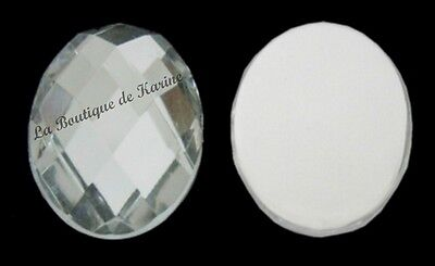 20 PERLES STRASS CABOCHON OVALE A COLLER ACRYLIQUE TRANSPARENT 13 X 18 mm