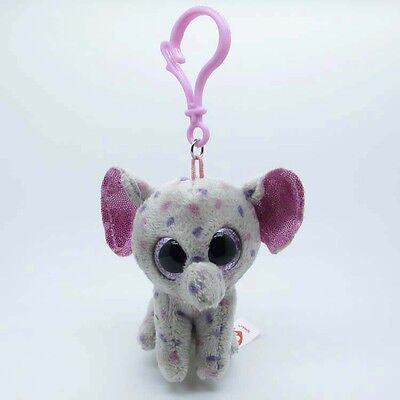 "3.5"" TY Beanie Boos Elephant Specks Gray Key Clip Plush Stuffed Doll Toy kc104"