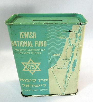 Vintage Jewish National Fund Tin Judaica Reclaim Israel Collection Bank Made Usa