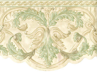 Acanthus Leaf Scroll Gold Cream Sage Green Die Cut Scallop Wallpaper Border