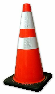 "2850-7-MM 28 In. Orange Safety Traffic Cones W/4 & 6"" 3M Reflective Collar 8/Pkg"