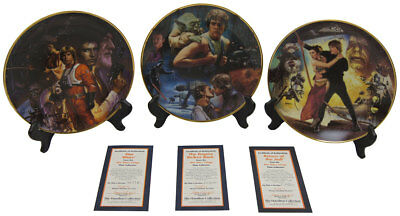 Star Wars The Hamilton Collection 3 Plate Lot Trilogy Set New W/COA