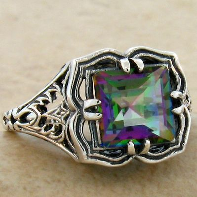 Hydro Mystic Quartz Vintage Design .925 Sterling Silver Ring Size 9,        #736