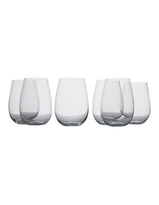 NEW Mansion Stemless White Wine Glass, Set of 6 Gift Boxed, 500ml