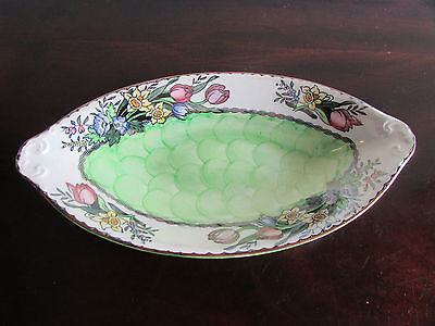 Maling Oval Thumbprint Design Hand Painted Dish c.1924-63