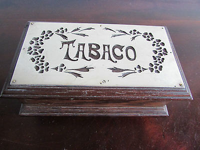 Rosewood Silver Plated TABACO Box - Early 20th Century
