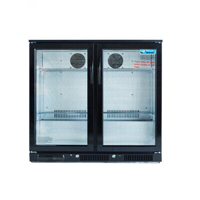 2017 Bar Fridge Beer Double Door 2 Door Display Alfresco Under Bench Black 230l