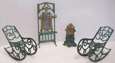 Old 4 PC Miniature Filigree Lead French Penny Toy Dollhouse Furniture NICE!