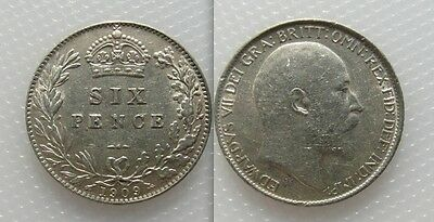 Collectable 1909 King Edward VII Silver Sixpence