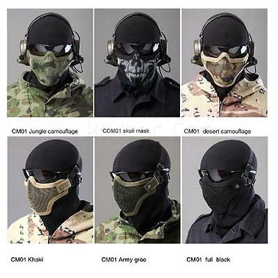 Camo Airsoft Steel Wire Mesh Half Face Mask Tactical Hunting Paintball Protect