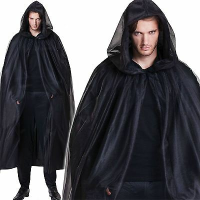Deluxe Black Hooded Cloak Cape Long Dracula Vampire Halloween Fancy Dress Unisex