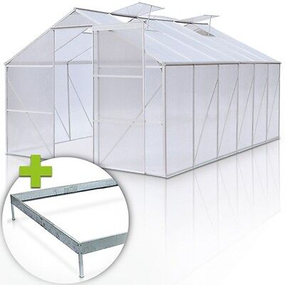 15.08 m³ Greenhouse Polycarbonate Aluminium with Steel Base Frame Slide Door