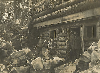 German WW1 Photograph, Soldiers, Uniforms, Fortified Shelter, 1914-1918