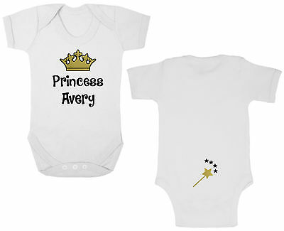 PERSONALISED PRINCESS Bodysuit/Grow/Vest, Newborn Gift, Baby Shower, Gold, Queen