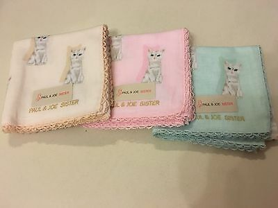 Paul & Joe Sister handkerchief Mini-scarf Cats From Japan 100% authentic cotton