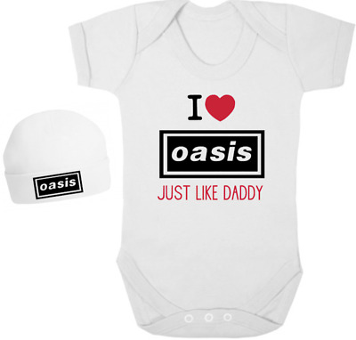 I LOVE OASIS LIKE DADDY Bodysuit/Grow/Vest/Romper, Hat, Newborn Gift Baby Shower