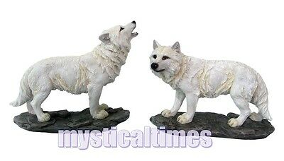 NEW * THE WATCHERS * WHITE WOLVES WOLF PAIR of 14cm FIGURINE ORNAMENT H2519
