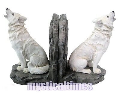 NEW * WARDENS OF THE NORTH * WHITE WOLVES WOLF PAIR of BOOKENDS  H2522