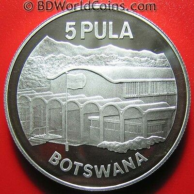 1976 BOTSWANA 5 PULA .86oz SILVER PROOF INDEPENDENCE SIR SERETSE KHAMA CROWN