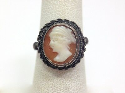 Antique Carnelian Shell Small Cameo Ring Size 5 FMGE 800 Fine Silver FMGE